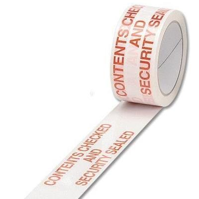 Adhesive printed Contents Checked Security Sealed Tape